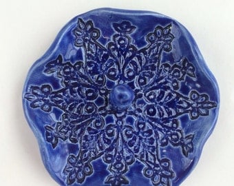 Royal Blue Ring Catcher Lace Textured Stoneware Dish