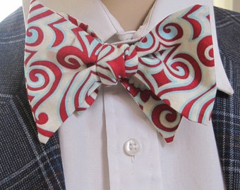 Red and Turquoise Geometric Pattern Bow Tie