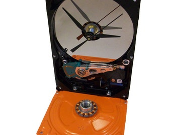 FREE SHIPPING USA! Gloss Orange Based Computer Hard Drive Clock Accented with its Copper Motor Winding.