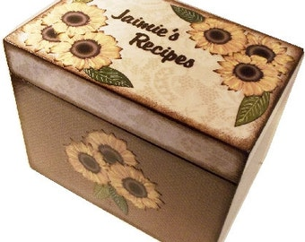 Recipe Box, Wedding Guest Book Box, Sunflower/Rustic Burlap- Lace Large, Handcrafted, Storage, Organization Holds 5x7 Cards  MADE To ORDER,