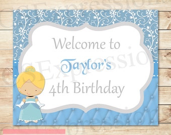 Little Blue Princess Welcome Birthday Party Sign