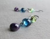 Multicolored Glass Dangle Earrings, Blueberry Earrings, Agave Green Earrings, Aubergine Purple Earrings, Lampwork Earrings, Dark Silver