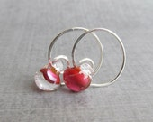 Orchid Pink Hoops, Small Silver Wire Hoop Earrings, Pink Earrings, Lampwork Earrings Pink, Pink Glass Drop Earrings, Sterling Silver Earring