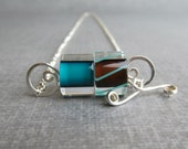 Teal Necklace, Brown Necklace, Cane Glass Necklace, Convertible Necklace, Sterling Silver Necklace