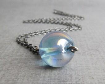 Light Blue Necklace, Blue Pendant Necklace, Blue Glass Bubble Necklace, Glass Necklace Blue, Sterling Silver Oxidized Necklace Minimalist