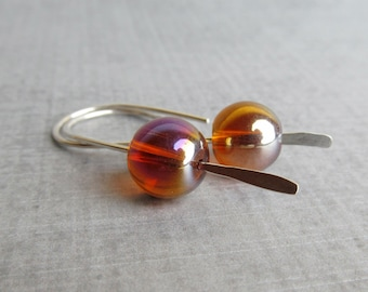 Amber Brown Earrings, Modern Earrings, Brown Bubble Earrings, Sterling Silver Earrings