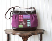 Zinnia Large Pleated Zippered Cross Body Bag in Echino Bicycles with Vegan Leather