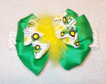 Perfect for Birthdays! Farm Princess John Deere Green Infant Toddler and Girls Tractor Hair Bow Hairbow Big Bow Maribou Headband