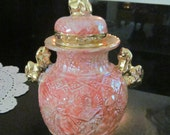 Marianne's Golden Foo Dog Footed Jar in Light Coral