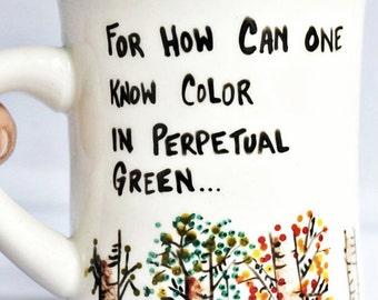 Mug coffee tea cup diner mug black white fall autumn winter steinbeck literature quote book