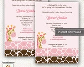 Pink Giraffe Jungle Jill Girl Giraffe Print Baby Shower or Birthday Invitations Printable Digital EDITABLE TEXT Instant Download File