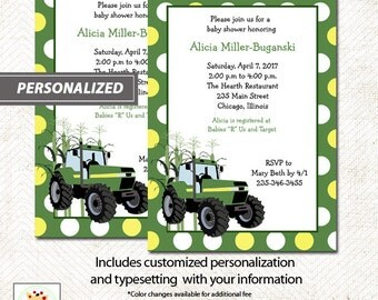 Green Tractor Farm Theme Baby Shower Invitatons Print Your Own Digital JPG File or Printed Tractor Baby Shower Invitations
