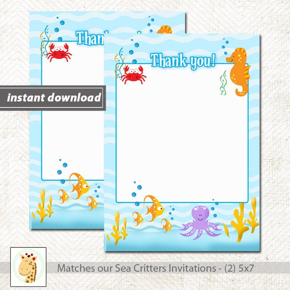 sea critters under the sea matching flat card thank you note size
