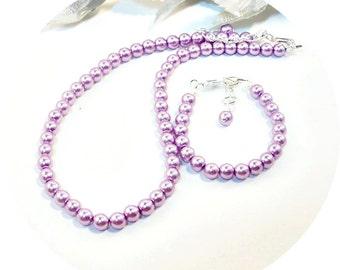Lilac Necklace and Bracelet, Purple Jewelry, Flower Girl Jewelry, Kids Jewelry, Easter Jewelry, Violet Jewelry, Lavender Jewelry, Wisteria