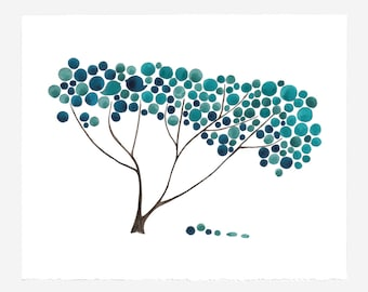 Wedding Gift Anniversary Gift - BLUE SAFARI TREE - Giclee Art Print Reproduction of Watercolor Painting -Trees of Life Collection