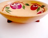 Wood Bowl Hand Painted Footed Red Apples Munising Vintage Dough Bowl