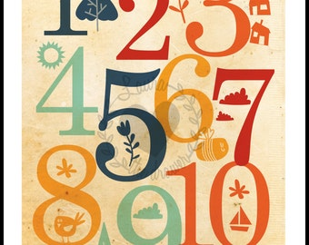 Printable Numbers counting Baby Room Decor nursery wall Art print