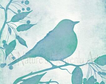 Pájaro en rama de decoración de la pared verde y azul, Teal Ave de 8 x 10 de pared Art para el hogar, azul verde dormitorio o cuarto de baño arte (355)