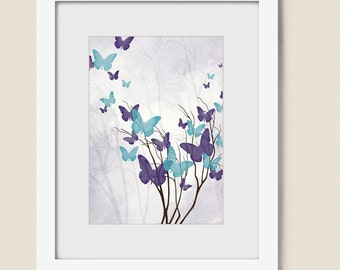 5 x 7 Turquoise Blue and Purple Butterfly Wall Art Print, Girls Wall Decor, Girls Room Art Print, Tree Wall Art (183)