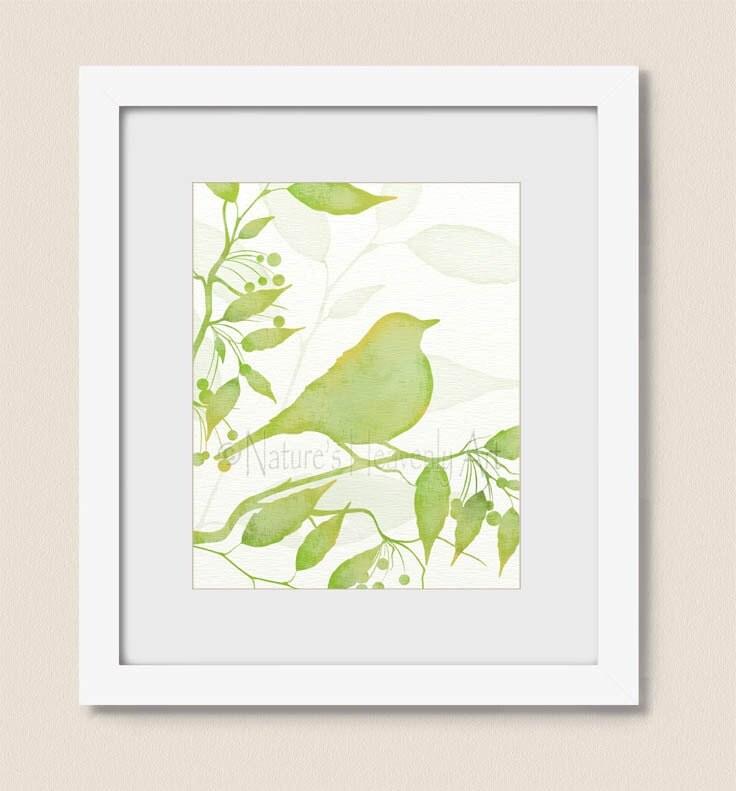 Bird on branch lime green wall decor 8 x 10 bird wall art for for Lime green wall art