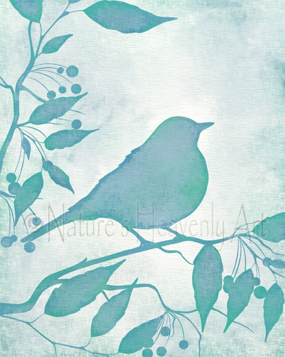 bird on branch green and blue wall decor 8 x 10 teal bird. Black Bedroom Furniture Sets. Home Design Ideas