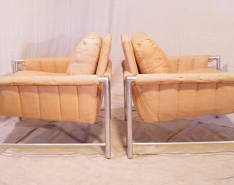 Pair Fabulous Vintage Metal Frame Chairs Milo Baughman Style Mid-century Modern