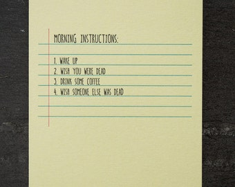 morning. letterpress card. #654