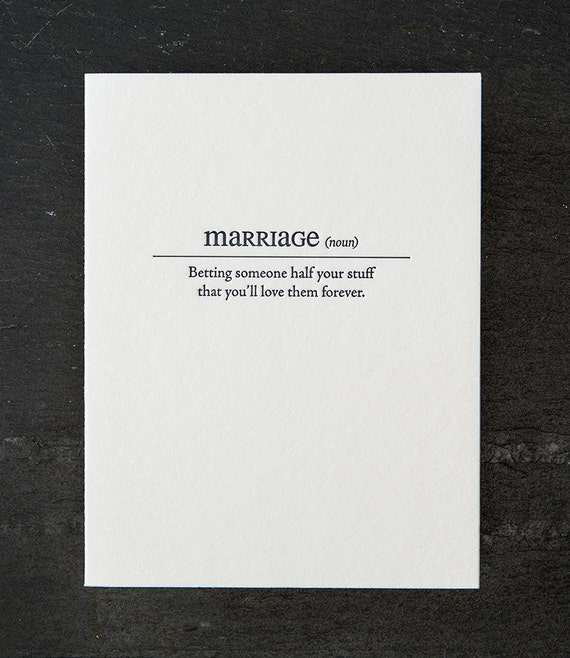 marriage definition. letterpress card. #154