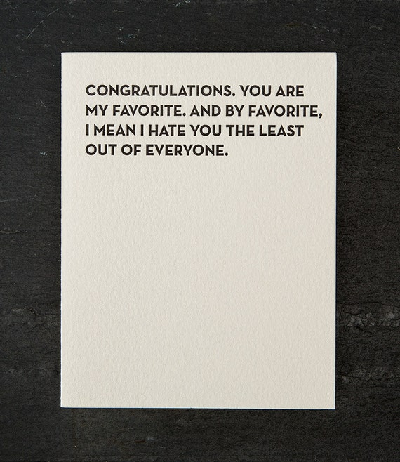 you're my favorite. letterpress card. #106