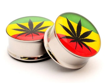 Pot Leaf Style 3 Picture Plugs gauges - 16g, 14g, 12g, 10g, 8g, 6g, 4g, 2g, 0g, 00g, 1/2, 9/16, 5/8, 3/4, 7/8, 1 inch