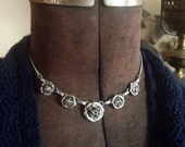 Vintage Silver Tone Flowers Nature Necklace