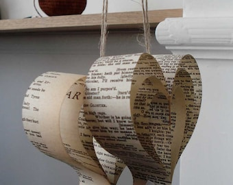 Pew End Chair and Wedding Decorations, Book Hearts, Jane Austen