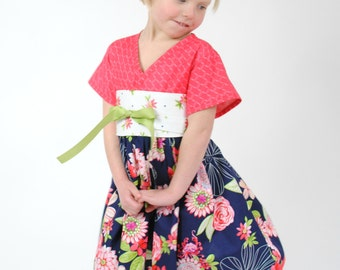 Girl's Kimono Dress, Girls Clothing, Asian style Kimono Dress,  Baby Girl dress, Toddler dress, Girl Dresses, pink dress,  navy, size 2T - 8