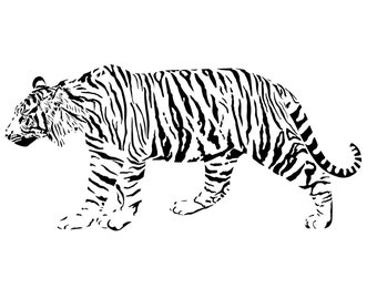 Tiger wall decal, big cat wall sticker, large tiger wall decor, den wall decal, college dorm decor, jungle zoo vinyl art, 27 X 57 inches