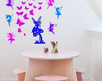 Fairies and Butterflies Wall Decal-Nusery Decal- Vinyl wall decal--Big 60 X 50 inch sticker