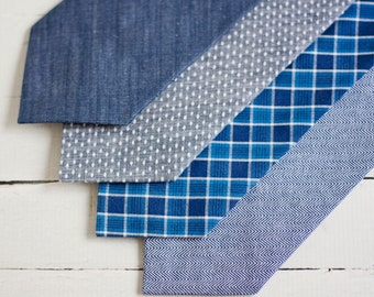 Necktie, Neckties, Mens Necktie, Neck Tie, Mens Necktie, Groomsmen Necktie, Ties, Wedding Neckties, Chambray Ties - Chambray Collection