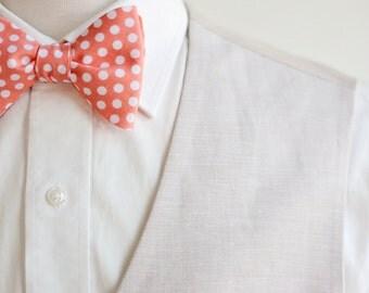 Bow Ties, Bow Tie, Bowties, Mens Bow Ties, Freestyle Bow Ties, Self-Tie Bow Ties, Groomsmen Bow Ties, Wedding Bow Ties, Ties - Peach Dot