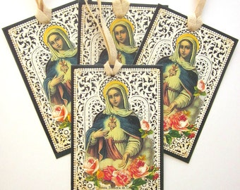 Handmade Gift Tag Holiday Religious Gift Tag French Holy Card Paper Lace