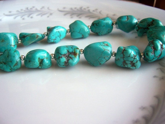 Megan Chunky Turquoise Necklace, Megan Fox necklace, turquoise necklace, turquoise jewelry
