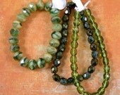 Green Fire Polish Glass Bead Mix 60% off, qty 70