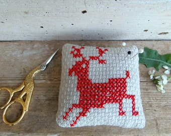 Embroidered pincushion with red deer or reindeer - cross stitch decorative pillow - rustic christmas gift
