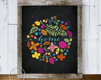 Home Wreath Chalkboard with Berries Ferns Flowers - Printable Art 8x10