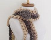 Ringlet Scarf With Flower Brooch (Grey Brown)-Handmade Scarf-Women Accessories