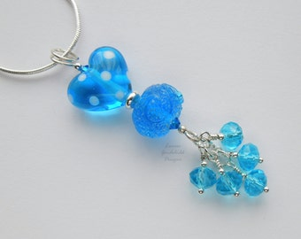 Bright blue pendant, azure blue necklace, lampwork necklace, ocean blue, lampwork glass pendant, caribbean blue, waterfall pendant