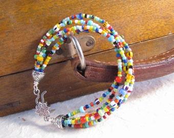 """Love Bead Bracelet, Multistrand Bracelet, Wire Wrap , 7 1/2"""" Bracelet, Hippie Jewelry, Colorful Jewelry, Statement Jewelry, SHIPS FREE"""