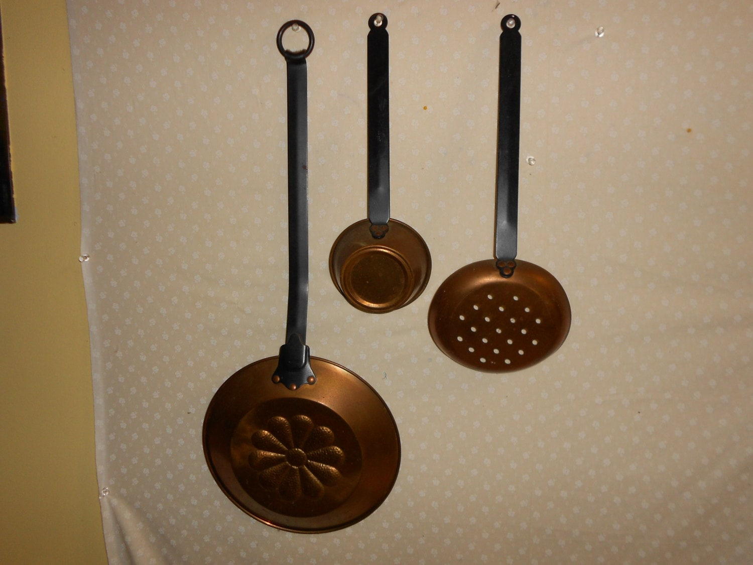 copper kitchen decor scoops ladle strainer large wall