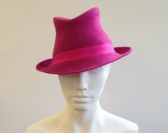 Pink Felt Trilby - Great felt hat perfect for a wedding, the races or everyday, can be made in other colours