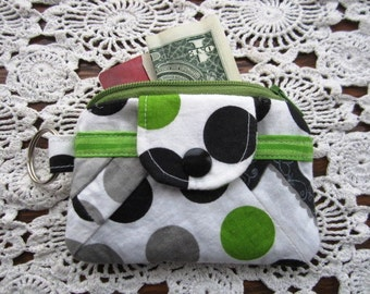 Zippy Wallet Pouch Key Chain  Dinosaurs Quilted Polka Dots holder -