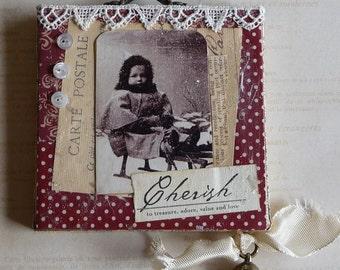Vintage Photo Child on Sled Jingle Bell Christmas Decoration