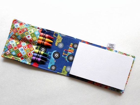 Mini Crayon Notebook - Jolly Farm - twistable crayon holder kid party favor crayon folder tractor crayon notebook wedding favor stocking